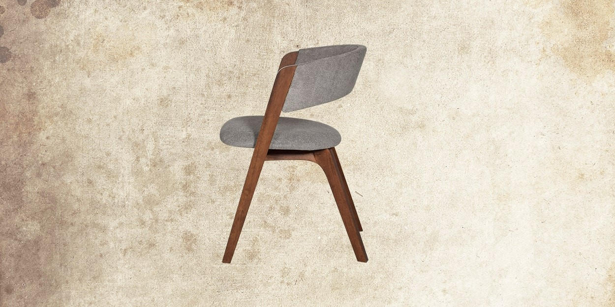 Simeon 6 Seater Walnut Dining Table With Albira Fabric Dining Chair Side View