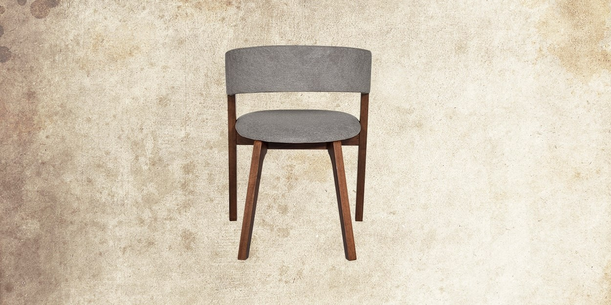 Simeon 6 Seater Walnut Dining Table With Albira Fabric Dining Chair Back View