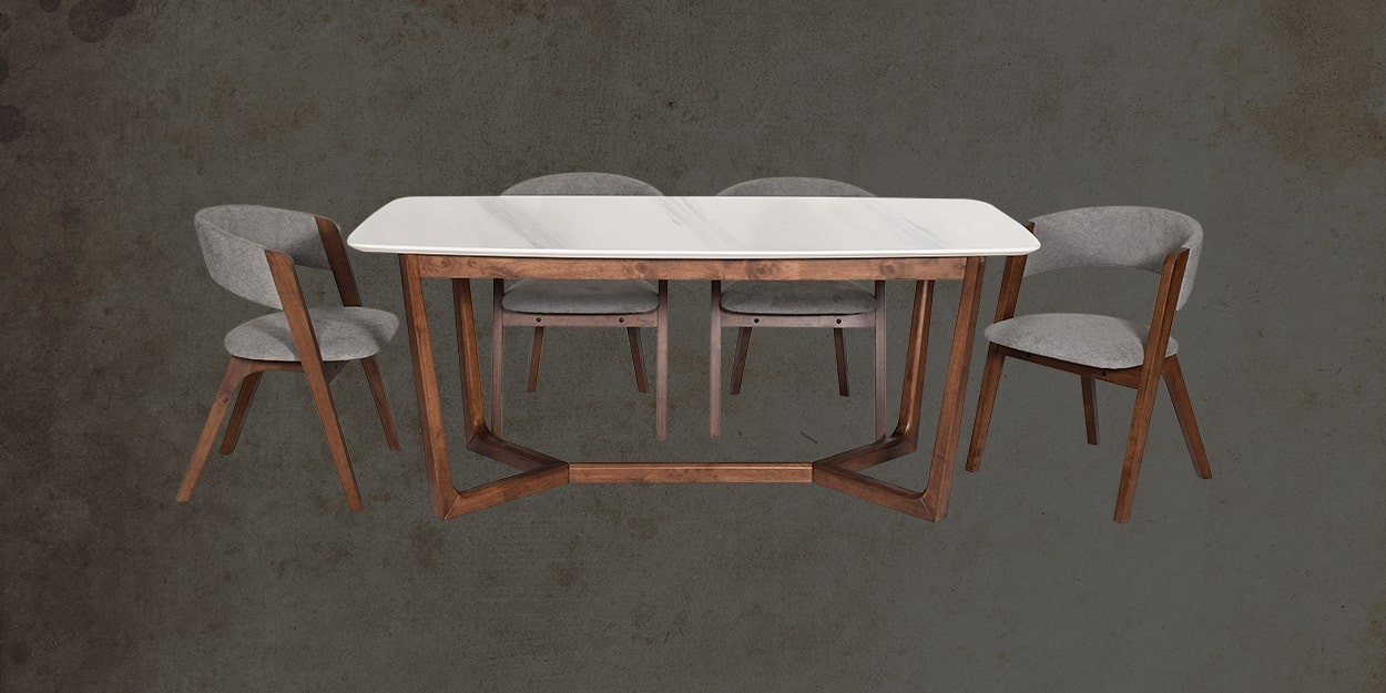 Viviano 6 Seater Marble Dining Table With Albira Fabric Dining Chair Front View