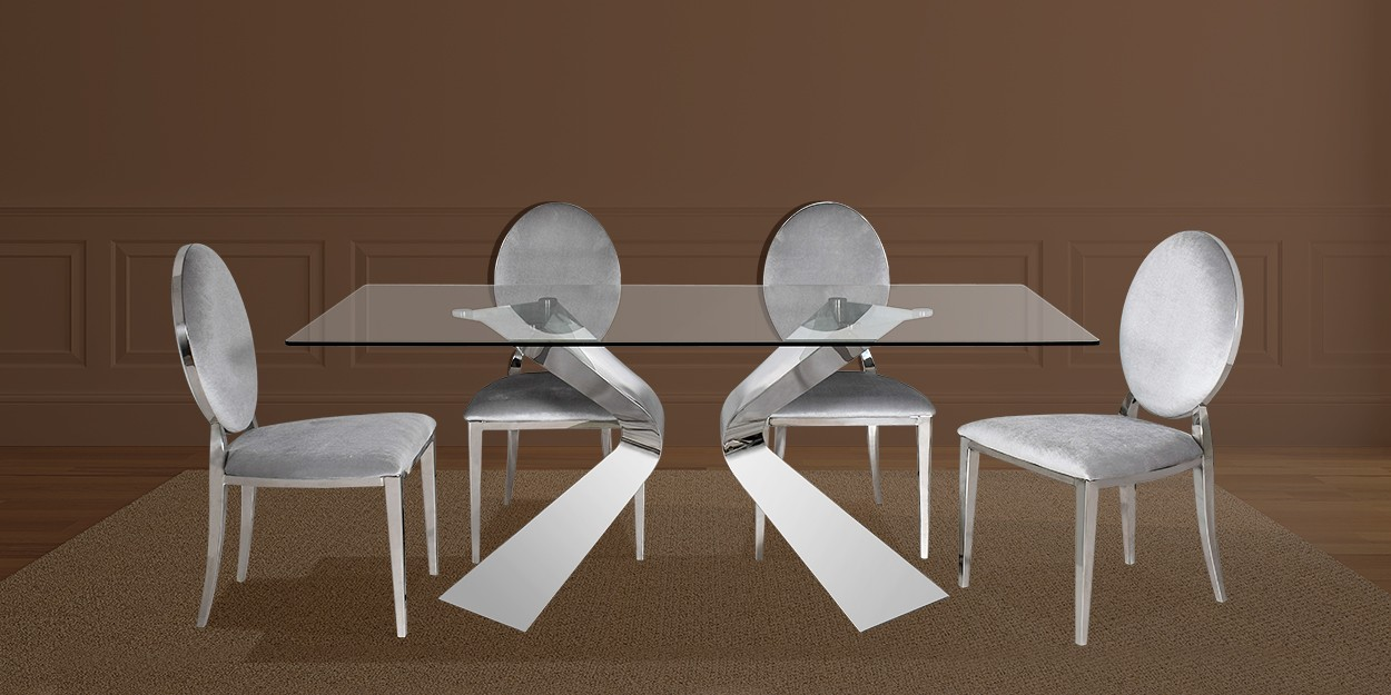 Romina 6 Seater Stainless Steel Dining Table With Laton Fabric Dining Chair Main Image