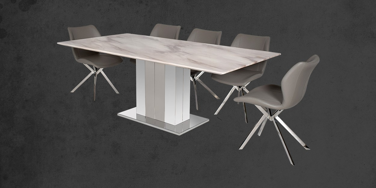 Edenia 8 Seater Marbl Edenia 8 Seater Marble Dining Table With Casey Dining Chair Cross View