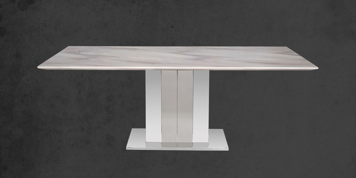 Edenia 8 Seater Marble Dining Table With Casey Dining Chair Front View of Dining Table