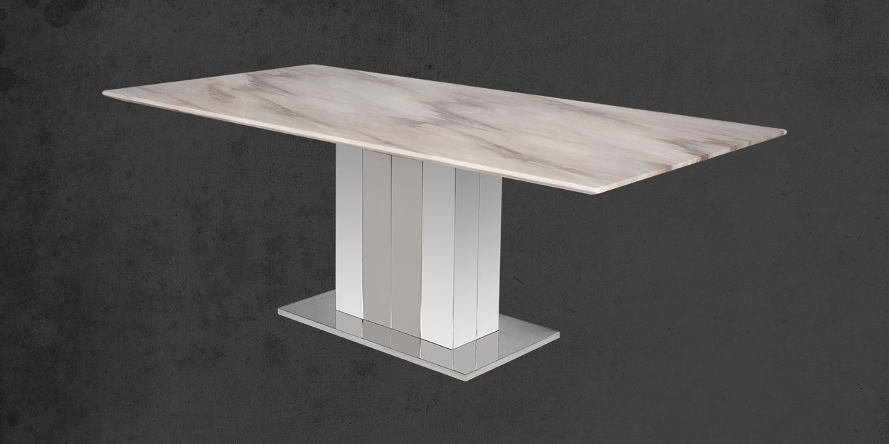 Edenia 8 Seater Marble Dining Table With Casey Dining Chair Cross View of Dining Table