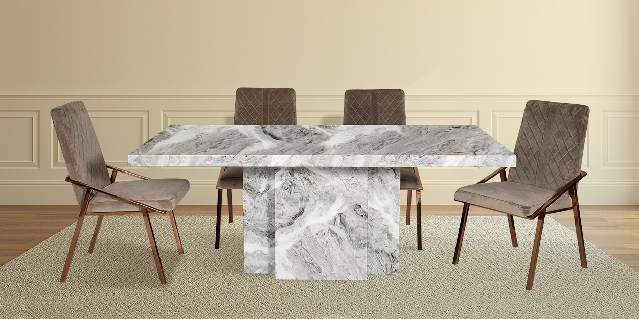Katia 6 Seater Marble Dining Table With Linus Fabric Dining Chair All Dining Table Sets Dining Table Dining
