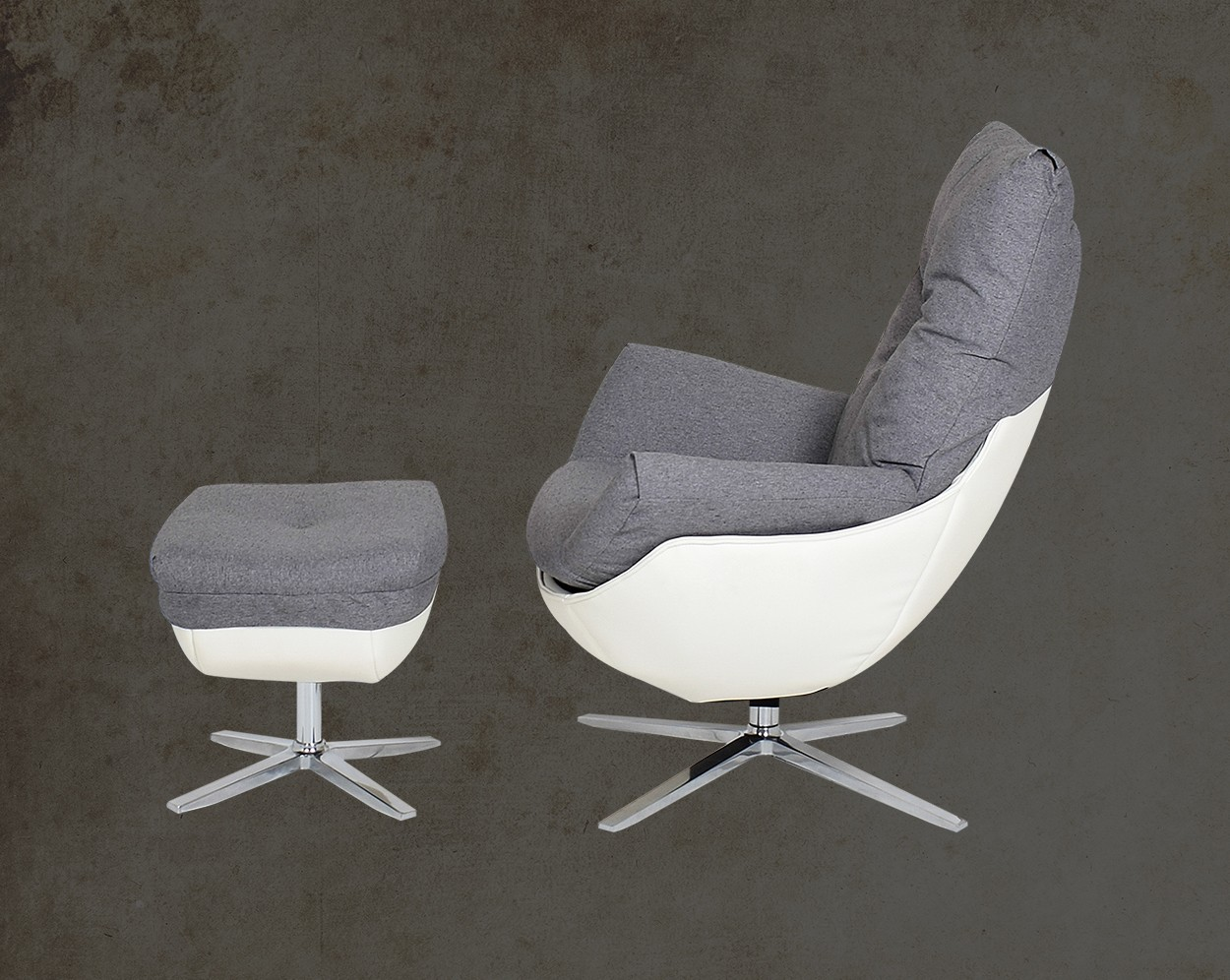 Verlin Leisure Chair With Ottoman Side View