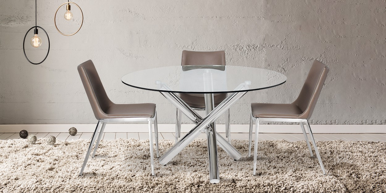 Zenia 4 Seater Stainless Steel Dining Table With Santino Dining Chair